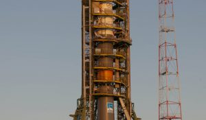 Pad N°1 with soyuz launcher TMA-03M ready on the morning of lau
